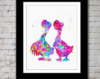 Aristocats Geese colorful watercolour print, Kids' wall art