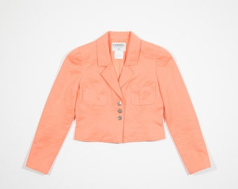 CHANEL-Salmon-Salmon cotton Blazer cotton blazer