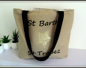 "Bag canvas cotton caramel ""St Barth and St Tropez"""