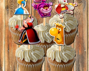 Alice in Wonderland Cupcake toppers-centerpiece images-Decorations-Cake toppers-Alice Centerpiece-Party Favors-Party Supplies