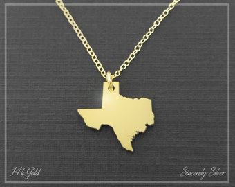 14k Solid Gold Necklace, Gold Texas State Necklace, Gold Texas Pendant, Gold Texas Charm, Gold Texas Jewelry