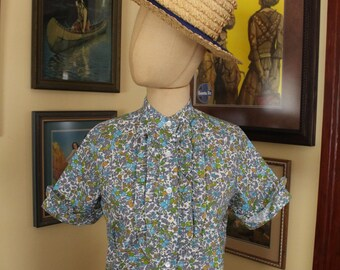 Vintage 1960's Blue Citrus Floral Blouse Top Orchard