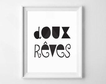 Doux Rêves | Sweet Dreams French Nursery, Modern Nursery, Minimalist Nursery Print | Digital Download