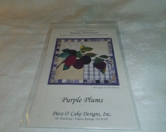 Quilt Pattern, Purple Plums Block Pattern for Simply Delicious Quilt Series, Piece O Cake Designs
