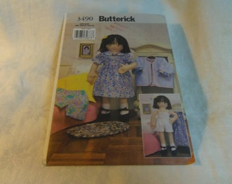 "Soft Maggie Doll 18"" and Doll Clothes, Uncut Pattern, Butterick 3490, 2002"