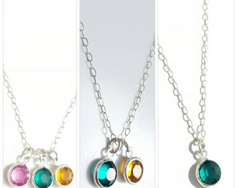 Personalised swarovski crystal birthstones on a sterling silver necklace
