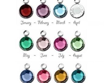 Swarovski crystal birthstone charm add on, personalize your piece, birthstone charm, birthstone drop, add a birthstone
