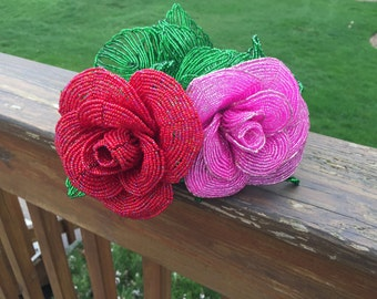 French beaded  rose flower