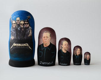 Hand Painted Russian Nesting Doll Matryoshka Metallica Made In Russia