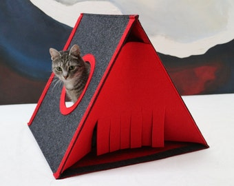 Cat house size L Cat bed Cat cave Felt cat house Cat teepee red dark gray Modern cat furniture Triangle cat house