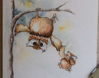 Mommy owl catching baby owl watercolor and ink painting card- Prints only