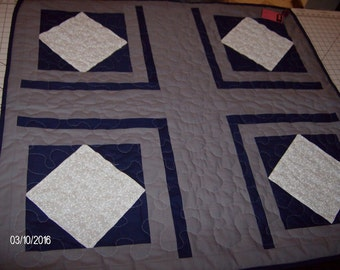 Navy, White, and Grey Quilt