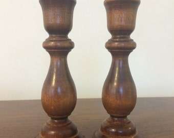 Vintage Hand Turned Wood Candlestick Pair