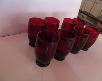 Royal Ruby Tumblers, Set of 8, from 1950's