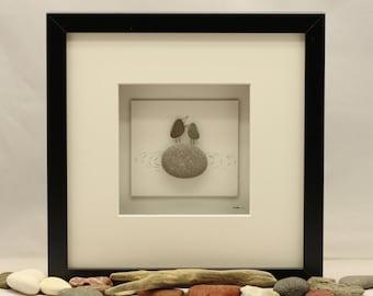 Pebble art picture, Love birds, Engagement, Wedding, Valentine gift.