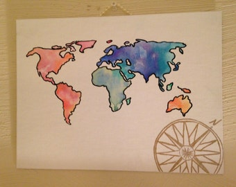 Watercolor World Map Hand Painted Canvas with Compass