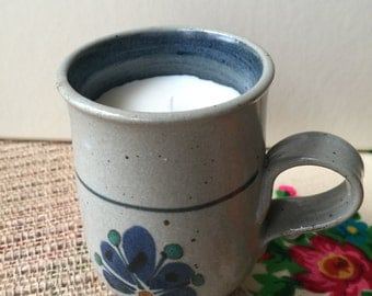 Clay Mug Candle - 100% natural soy wax candle with essential oils