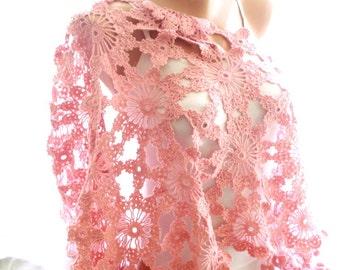 crochet shawl, lace shawl, pink shawl, handmade shawl,bridal cover up, wedding favor, bridal shawl, bridesmaid shawl