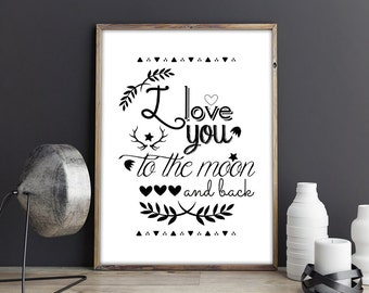A4 poster - I Love you to the moon and back