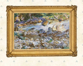 Mountain Stream, John Singer Sargent ,1912.Famous watercolor painting, American artist, Wall Art Decor, Giclee print,High detail poster.