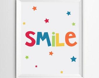 "Smile print - nursery printable quote - printable art - nursery Wall art - INSTANT DOWNOAD 10""x8"""
