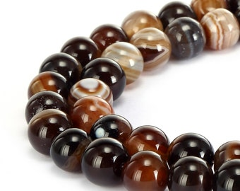 Smooth Brown Stripe Agate Gemstone Round Loose Beads Size 6mm/8mm/10mm/12mm 15.5 Inches per Strand.R-S-AGA-0035