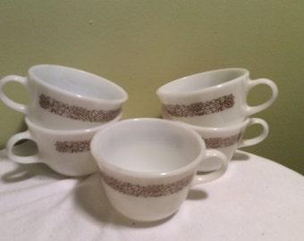Vintage Pyrex Woodland Flower Design White Milk Glass Coffee Tea Cups Set of Five