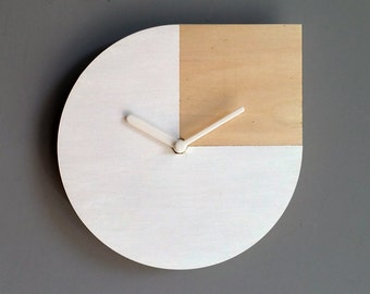 Laser cut wood wall clock,Andy Warhol quote,white and wood clock,wood and white clock,modern wall clock,silent clock,modern wall clock
