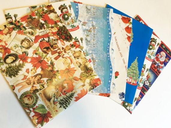 Vintage christmas wrapping paper vintage christmas gift for Vintage christmas craft supplies