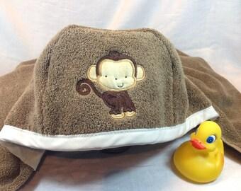 Flannel Lined Hooded Monkey Bath Towel