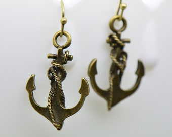 Anchor Earrings, Antique Bronze Finish, Vintage Style Charm Pendant Earring, Nautical Jewelry (B022)