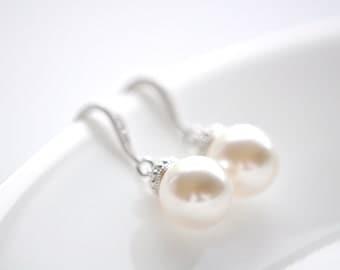 Bridal Earrings Wedding Earrings Pearl Earrings Pearl Dangle Earrings Swarovski Pearl Earrings