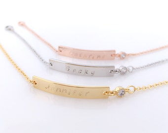 Personalized Bar Bracelet with Sparkling Zirconia/ Choice of Name-Date-Favorite Word/ For Bridesmaid, Birthday, Sisters & All