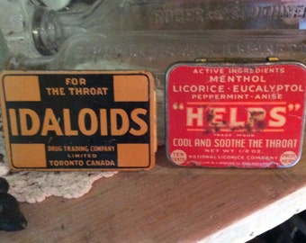 Vintage Idaloids and Pellets throat irritation tin box pharmacy collectible