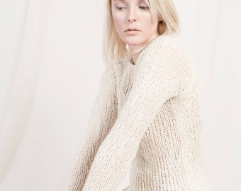 handknitted organic wool and alpaca sweater