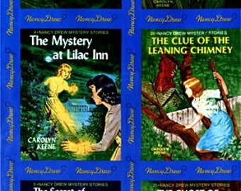 Get A Clue Nancy Drew FABRIC PANEL - BLUE / Quilt Blocks Rare Moda Fabric Book Covers