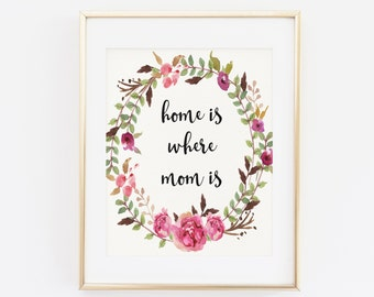 Home Is Where Mom Is, Mother's Day Printable Wall Art, Gift For Mom, Print For Mother, Mothers Day Poster, Mother's day quote printable