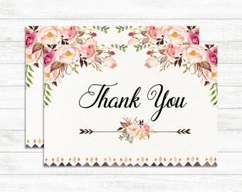 Thank you Card, Floral Thank you Card, Floral Wedding, Thank you card Printable Bridal Shower Card, Boho Rustic Floral Card, Greeting Card