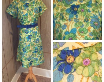 Vintage 70's floral green purple & blue dress - L