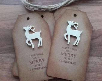 Set of 6 Reindeer Christmas Tags