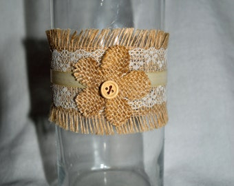 3 Candleholder/ Vase with Burlap, Ribbon, Lace and a Flower