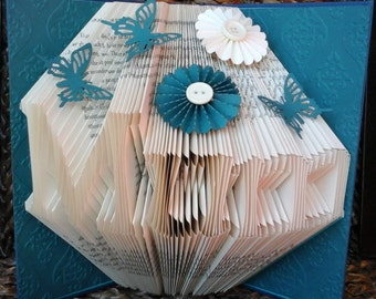 Folded Book Art Any Name Folding Sculpture Teal Plain/Embellished/Embossed Birthday Christmas Anniversary Wedding New Baby Valentine