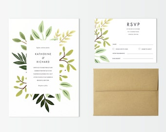Printable wedding invitation set, Botanical design, printable wedding, Plants and branches wedding design, wedding stationery, minimalist