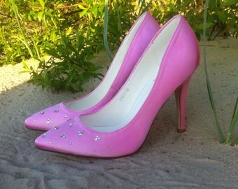 Wedding shoes with crystals Pink satin pumps with swarovski crystals Wedding heels with crystals
