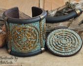 Polymer clay jewelry set Wide bracelet Large pendant Blue jewelry Labyrinth pendant Labyrinth necklace Labyrinth bracelet Jewelry for women