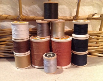 12 Vintage wooden spools of star brand thread brown and black