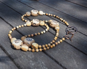 Knotted necklace with Picture Jasper and handmade ceramic beads