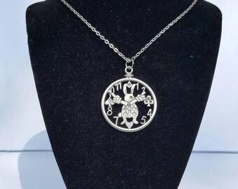 Alice in Wonderland Rabbit Watch charm necklace