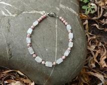 Moon stone and rhodochrosite bracelet