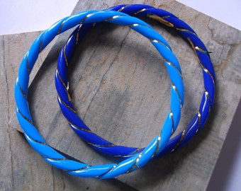 1980s Blue and Turquoise with Gold Thread Bangles